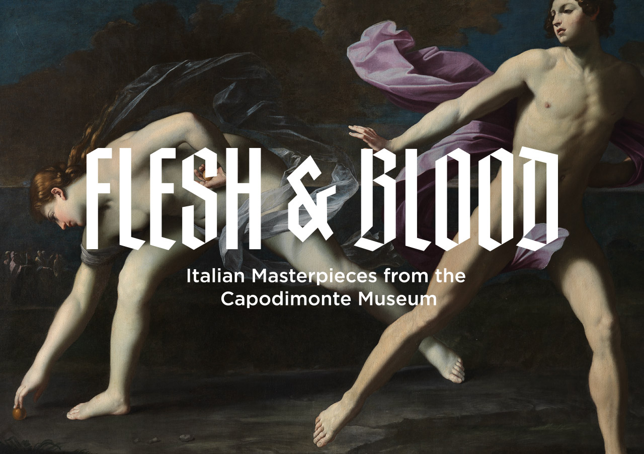 Image Text: Flesh and Blood: Italian Masterpieces from the Capodimonte Museum superimposed on top of a painting of two nude figures running a race